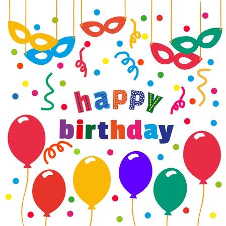 Happy Birthday Card Balloons Confetti Masks Idea For Design