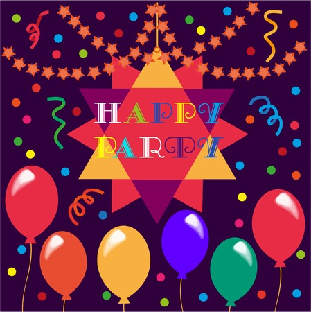 masked ball: Happy Party Poster. Poster on party celebration. Idea for design of kids birthday party, greeting card, holiday banner, poster for birthday celebration, decoration background. Vector illustration.