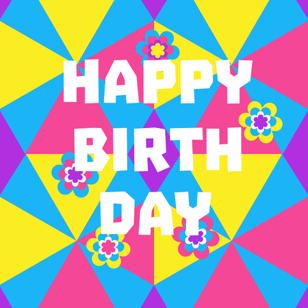 birthday party kids: Happy Birthday Card. Poster on party celebration. Idea for design of kids birthday party, greeting card, holiday banner, poster for birthday celebration, decoration background. Vector illustration. Illustration