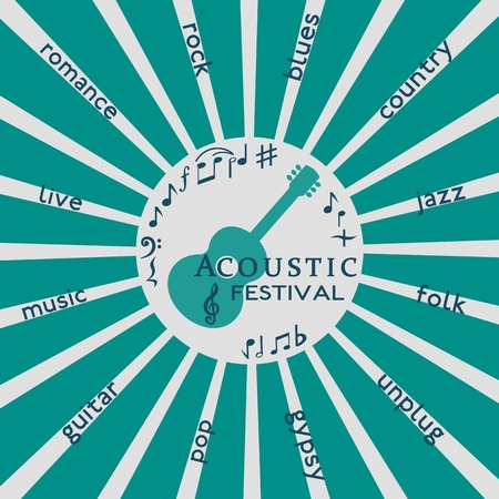 silhoette: Template Design Poster with acoustic guitar silhoette. Idea to announce Live Music Festival with acoustic guitars. Festival Acoustic Music promotion, advertisement.  Vector illustration.