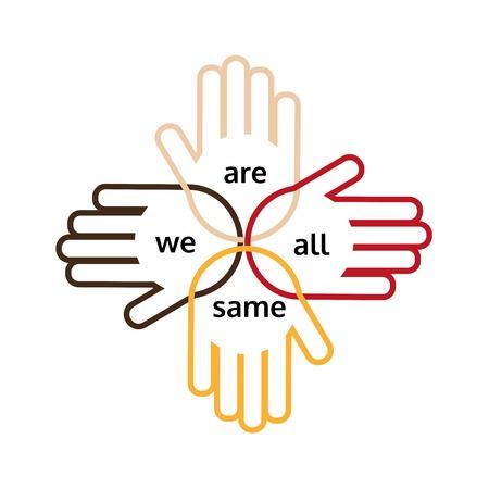 manos unidas: Motivado lema de la unidad multinacional y amistad. Armas de diferentes naciones están juntos. Idea en el cartel, banner para diferentes naciones amistad, unidad multinacional. ilustración vectorial