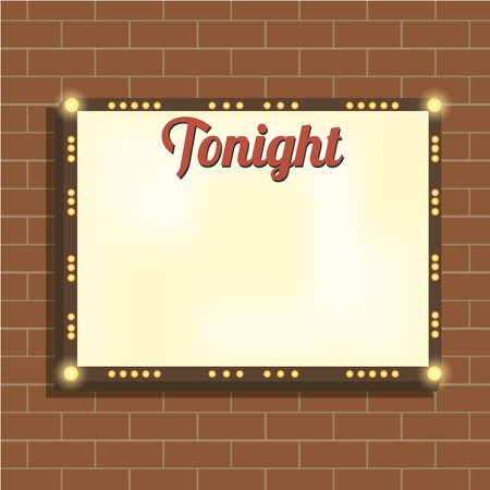 illuminating: Marquee billboard, advertising border, bulbs. Blank illuminated panel for text. Illuminating marquee billboard to advertise show. Marquee banner, border for cafe, show, cinema. Vector Illustration Illustration