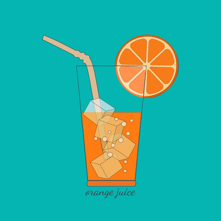 Citrus Fruits. Sliced orange in glass, bubbles, ice cubes.  Fresh orange juice Concept. Organic natural fruit. Natural fruit squeezed. Vegetarian fresh, healthy fitness juice. Vector Illustration