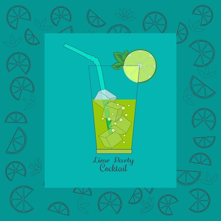 illustration cool: Cocktail Party Invitation Poster. Green fresh cocktail concept. Cocktails menu. Lime, ice cubes, mint in glass. Refreshing beverage, cool drink. Vector illustration.