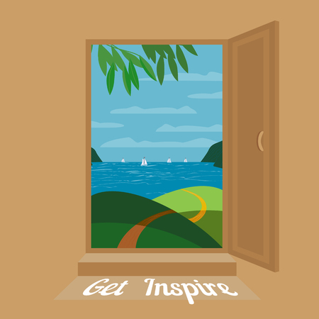 panoramic beach: Open door. Seaside panoramic view through open door.Day seashore view Concept. Text Get inspire. Sea beach. Vector Illustration