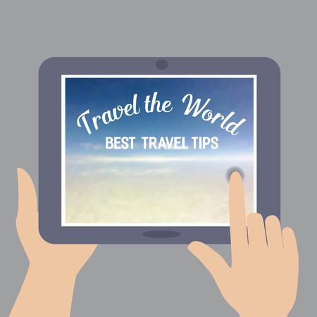 advise: Travel tips. Summer travel. Travel advise. Tourist trip advertising banner, guide for summer vacation. Vector Illustration.