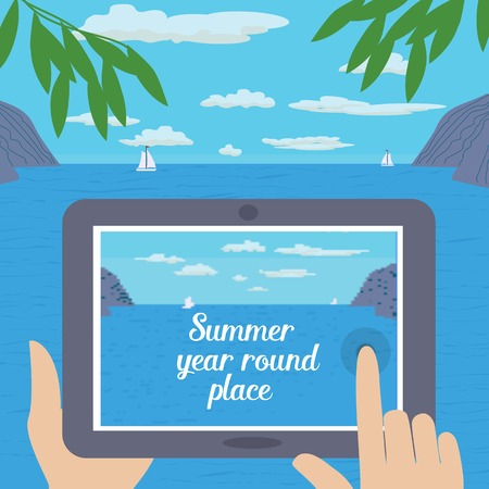 advise: Travel tips. Text summer year round place. Summer travel. Travel advise. Tourist trip advertising banner, guide for summer vacation. Vector Illustration.