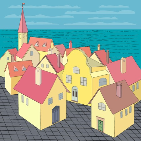 sul tetto della città. Concetto Vecchio paesaggio urbano occidentale. Centro storico vista panoramica. tetti da costruzione e piazza della città vecchia. illustrazione vettoriale
