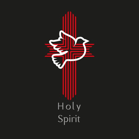 Church . Christianchurch concept. Holy spirit. Church sacrament symbol. Biblical tongues of fire, cross, holy spirit dove. Religious . Vector illustration.