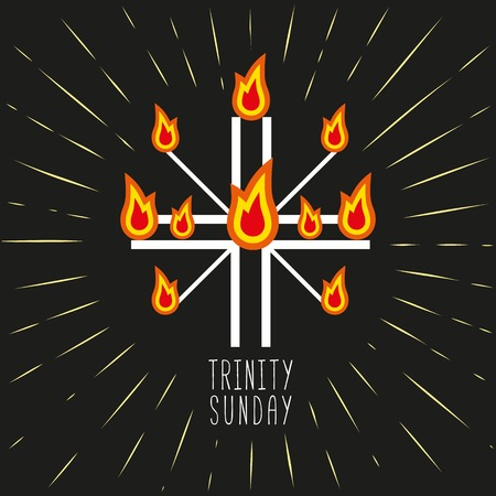 pentecost: Church symbols. Christian holiday concept. Holy spirit Jesus. Church sacrament symbol. Trinity Sunday. Biblical tongues of fire, cross, holy spirit dove. Religious . Vector illustration. Illustration
