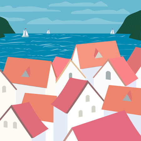 City rooftop. Old western cityscape Concept. Old town panoramic view. Houses on seashore, blue sea waves, yachts. Vector Illustration