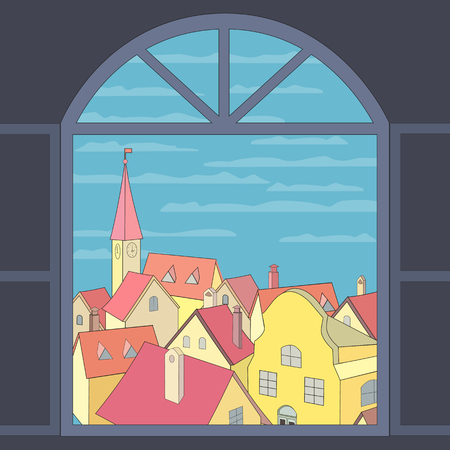 western town: City rooftop. Old western cityscape Concept. Old town panoramic view from window. Building rooftops, blue sky, clouds. Vector Illustration Illustration