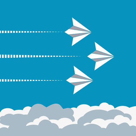 folded paper: Paper planes poster. Origami paper airplanes. Presentation poster template. Start up Concept. Banner advertising airline, travel, business with flying folded paper airplanes. Vector Illustration Illustration