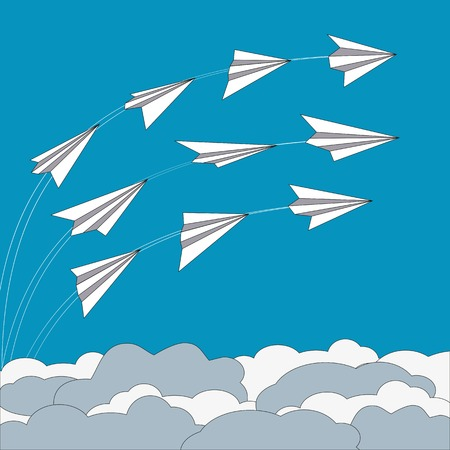 folded paper: Paper planes poster. Origami paper airplanes. Trail from airplane in blue sky. Banner advertising airline, travel, business with flying folded paper airplanes. Vector Illustration
