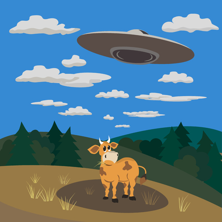 unidentified flying object: UFO abducts a cow .Flying saucer beam picks up animal from earth planet. Illustration of alien invasion in unidentified spaceship. Idea for design on theme of ufo landing. Vector illustration