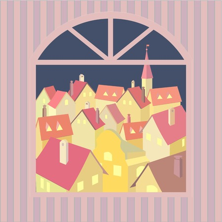 western town: City rooftop. Old western cityscape Concept. Old town night panoramic view from window. Building rooftops. Vector Illustration