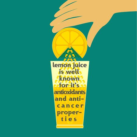 antioxidant: Citrus Fruit. Sliced lemon. Juice with splashe and drop. Fresh lemon Concept. Squeeze juice from lemon. Antioxidant, anticancer natural product. Healthy beverage, dieting dessert. Vector Illustration