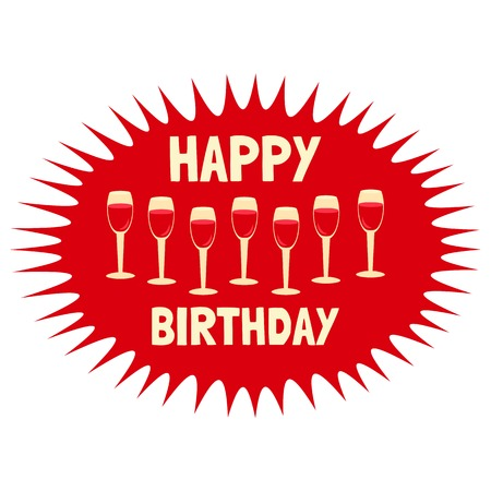 wine gift: Happy Birthday Card. Poster on party celebration. Idea for design of birthday party, greeting card, holiday banner, poster for birthday celebration, festive decoration background. Vector illustration.