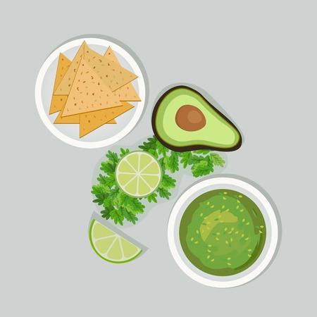 cilantro: Mexican style. Mexican cuisine Concept. Traditional menu. Lime, cilantro. Avocado and guacamole sauce, nachos. Vegetables, herbs of Mexico kitchen. National food. Vector Illustration Illustration