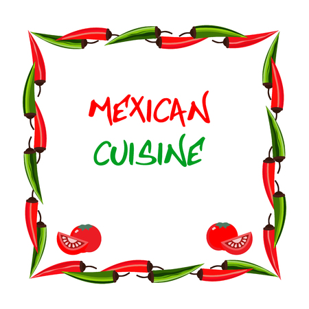 chili pepper: Mexican food style. Mexican cuisine Concept. Traditional menu. Fiesta meal. Mexico restaurant or cafe, kitchen. Dish menu. Vector Illustration