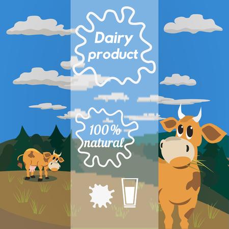 fresh milk: Milk cow. Dairy natural product Concept. Dairy farming concept. Nutritional product. Fresh farm organic product. Camomile from milk bottles. Milk splashes. Vector illustration