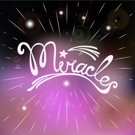 miracles: Miracles. Hand drawn lettering. Motivated words. Quotation Miracls. Modern vector calligraphy on violet background. Vector illustration