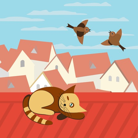 sparrows: City rooftop. Cat on rooftop. Birds flying in blue sky. Couple of Sparrows. Cityscape Concept. Town panoramic view. Building rooftops. Vector Illustration