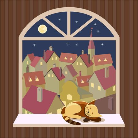 window view: City rooftop. City view through window. Night cityscape Concept. Old town panoramic view through open window. Building rooftops. Vector Illustration
