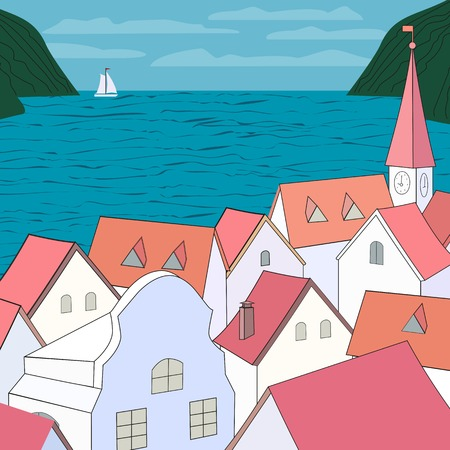 western town: City rooftop. Old western cityscape Concept. Old town on sea panoramic view. Building rooftops, blue sea, sky, white yach, green mountains. Red roofs on Mediterranean sea. Vector Illustration Illustration
