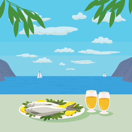 Mediterranean landscape Concept. Seashore panoramic view. Mediterranean Food. Fish, Wine and lemon. Seafood. Olive leaves. Vector Illustration Vector Illustration