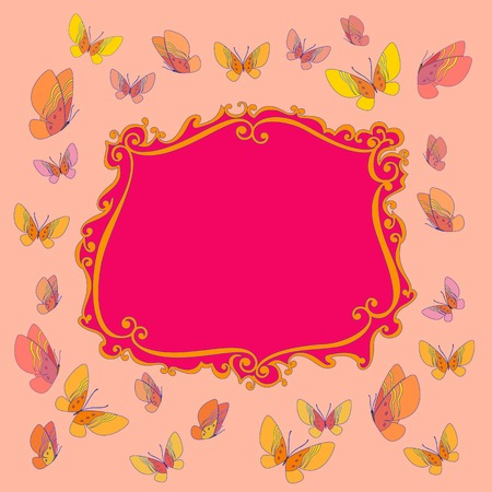 welcoming party: Fancy frame. Funny butterfly border. Card or banner to birthday celebration. Place for text. Entertainment decoration for birthday or festival. Holiday background. Vector illustration.