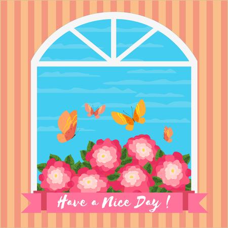 Inspirational Citazione motivato have a nice day. Poster concetto motivazionale. Fancy fiori, farfalle. Design per carta, bandiera motivato con le parole di motivazione. illustrazione vettoriale