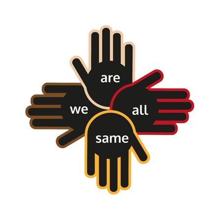 manos unidas: Las manos de diferentes colores que sostiene una en la otra muestra de apoyo. naciones diferentes unidad. Ilustración del vector. Vectores