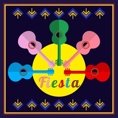 welcoming party: Mexican Fiesta party advertisement. Holiday vector poster, card, cinco de mayo. Design idea to advertise fiesta party in Mexica. Template for fiesta decoration. Vector illustration