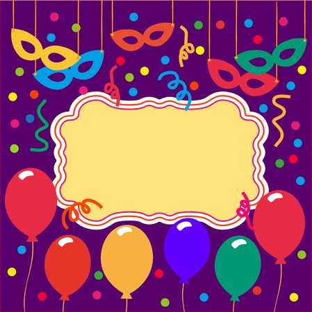 welcoming party: Happy Party Card, poster, banner template for greeting text. Idea for design of kids birthday party, card, birthday celebration, festival, carnival or masquerade ball invitation. Vector illustration.