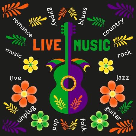 Template Design Poster con acustica chitarra silhouette. Idea per Live Music Festival, spettacolo musicale. Festival musicali promozione, la pubblicità. Illustrazione vettoriale.
