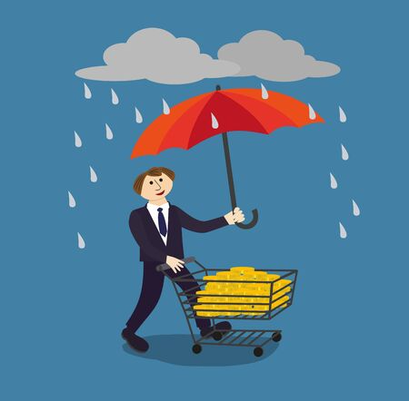 protect money: Businessman holding umbrella to protect money. Financial savings management poster concept. Risk manager protecs finance by proper managements umbrella in the rain of risks. Vector Illustration.