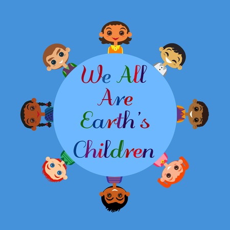nationalities: Motivated illustration of nations friendship United Children. Concept of Earth unity all nationalities. Kids of different nations friendship. Different nations are united friends. vector illustration.