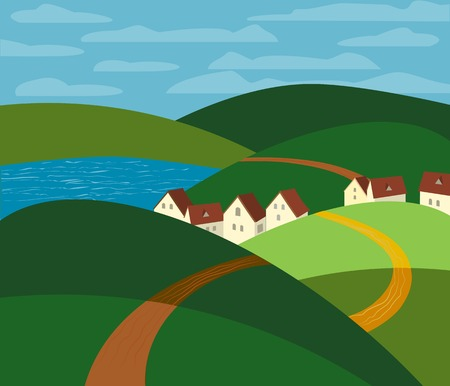 green fields: Green landscape. Farm houses silhouettes. Country winding road on meadows and fields. Rural community. Lake view among hills. Village countryside scene background. Vector Illustration