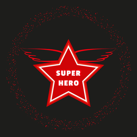 winning idea: Super hero star. Starring banner background. Red wings  Success Victory Winning  Concept. Leader boss award idea. Sport winner banner template. Movie hero reward ceremony. Vector illustration Illustration