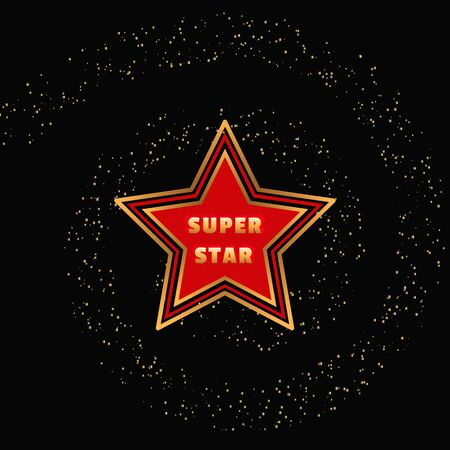 super star: Super star. Award banner background. Golden spiral and characters. Success Superstar Victory Winning Vector Concept. Reward ceremony decoration. Movie, music awarding layout. Vector illustration