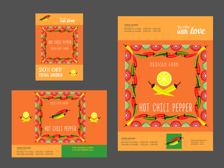 Set of templates for restaurant. Mexican food advertisement flyers. Hot chili pepper. Lime and paprika. Spicy kitchen. Vector illustration Vector Illustration