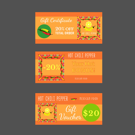 Set Of Templates For Mexican Restaurant Gift Certificate Discount