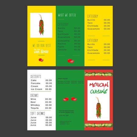 Set Of Templates For Restaurant Mexican Food Menu Advertisement