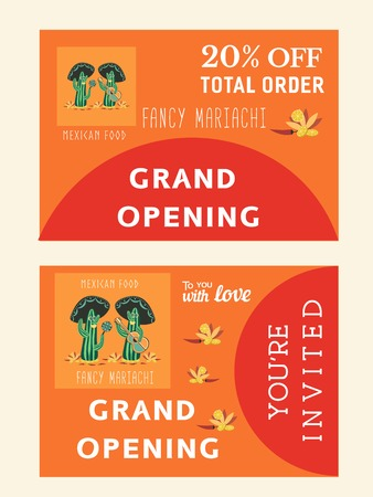 mexican restaurant: Set of templates for mexican restaurant. Grand opening afvertising. Bonus flyer. Invitation card. Vector illustration