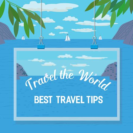 tourist guide: Travel tips. Summer travel. Travel advise. Tourist trip advertising banner, guide for summer vacation. Vector Illustration.