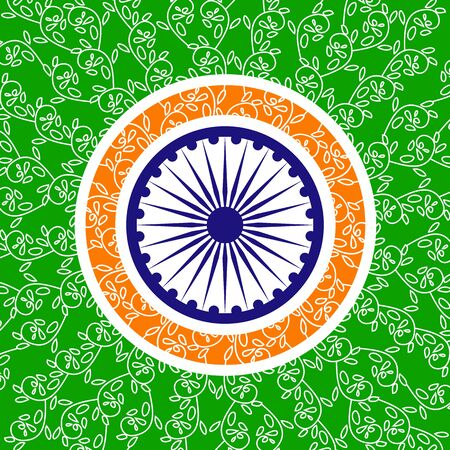 India republic independence. Independence day celebration concept. Creative henna floral design in Colors of Indian tricolor flag with Ashoka Chakra. Patriotic event background. Vector illustration