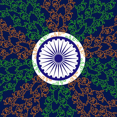 ashoka: India National holiday. Republic Independence day celebration concept. Colors of Indian tricolor flag with navy blue Ashoka Chakra. Unique symbols. Patriotic event background. Vector illustration