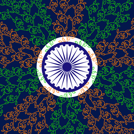 India National holiday. Republic Independence day celebration concept. Colors of Indian tricolor flag with navy blue Ashoka Chakra. Unique symbols. Patriotic event background. Vector illustration