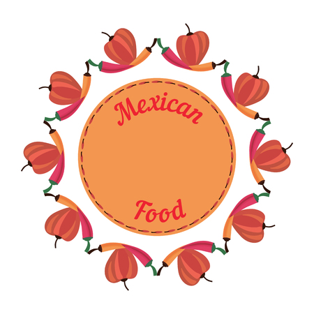 latin american: Mexican style. Mexican border Concept. Fiesta menu frame. Chili pepper.Chili Latin American restaurant background. Vector Illustration